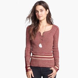 FREE PEOPLE Sock Monkey Henley Sweater V Neck Top
